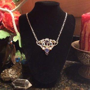 Jewelry - Sajen peacock druzy, pearl & real gem pendant.